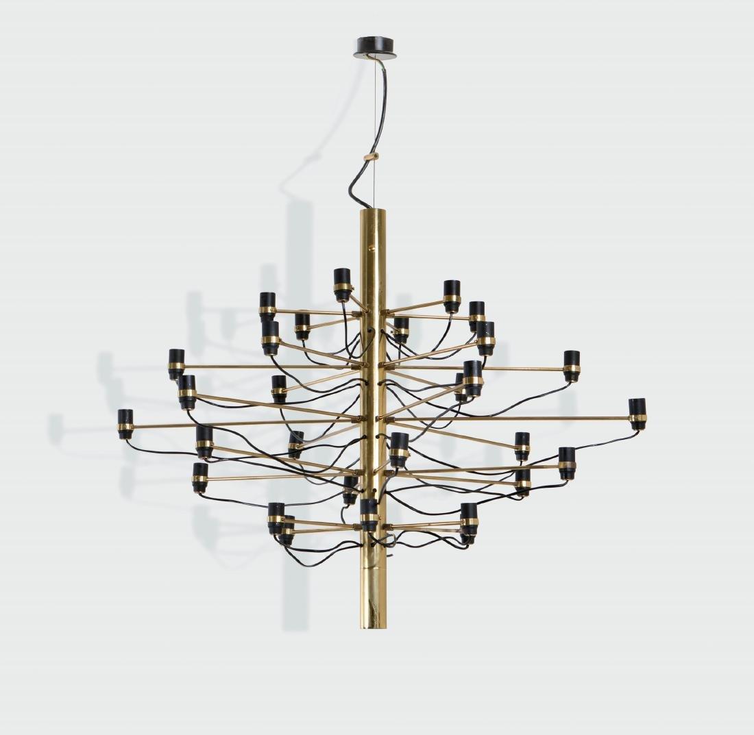 Gino Sarfatti, a brass chandelier. First series