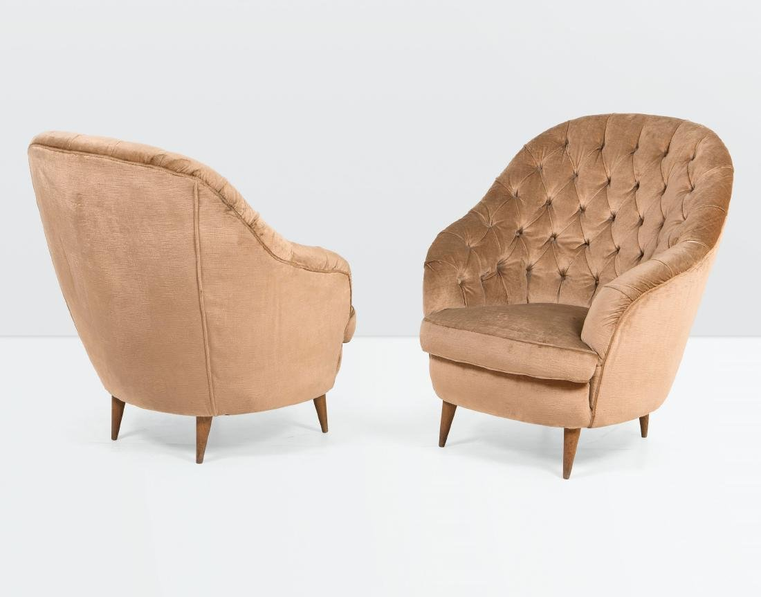 Gio Ponti, a pair of armchairs with a wooden structure
