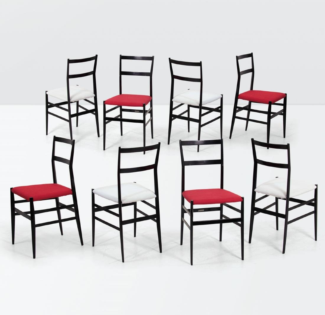Gio Ponti, eight Superleggera chairs in lacquered wood
