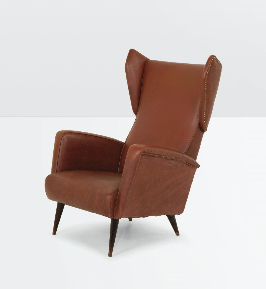 Gio Ponti, an armchair with a wooden structure and skai - 2