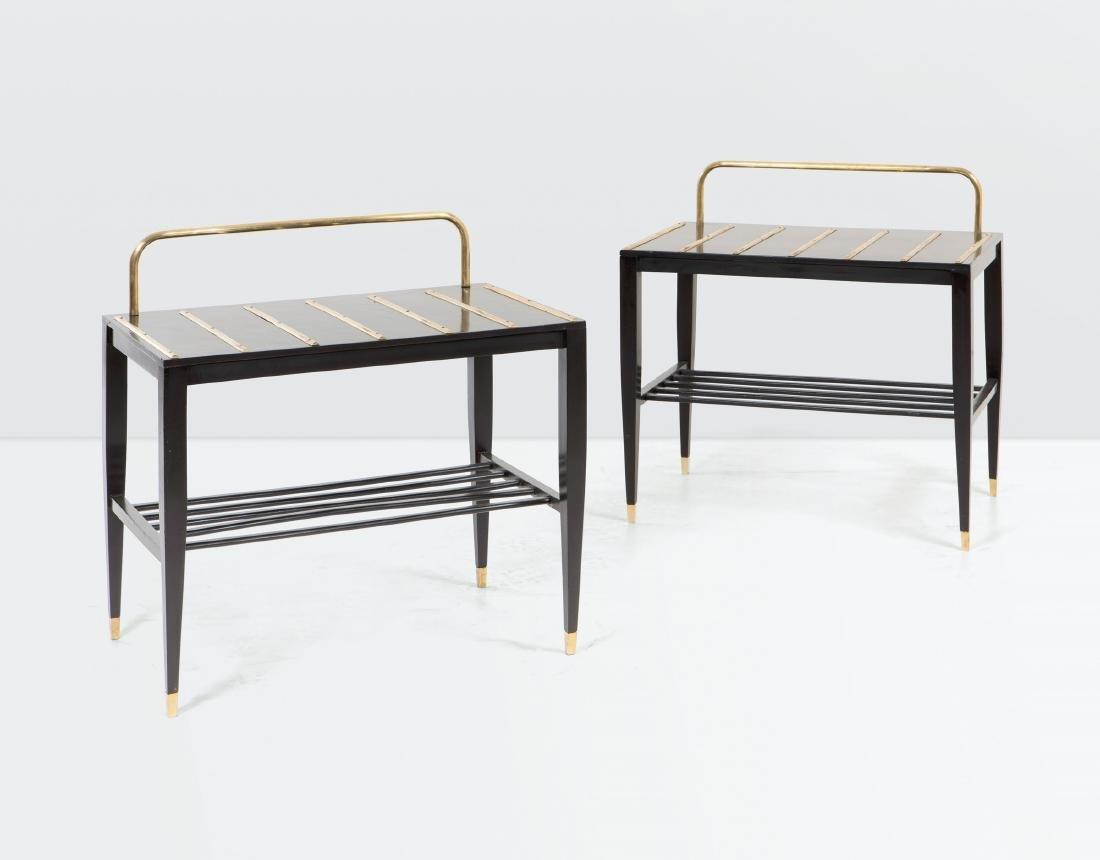 Gio Ponti, a pair of luggage racks in ebonised wood