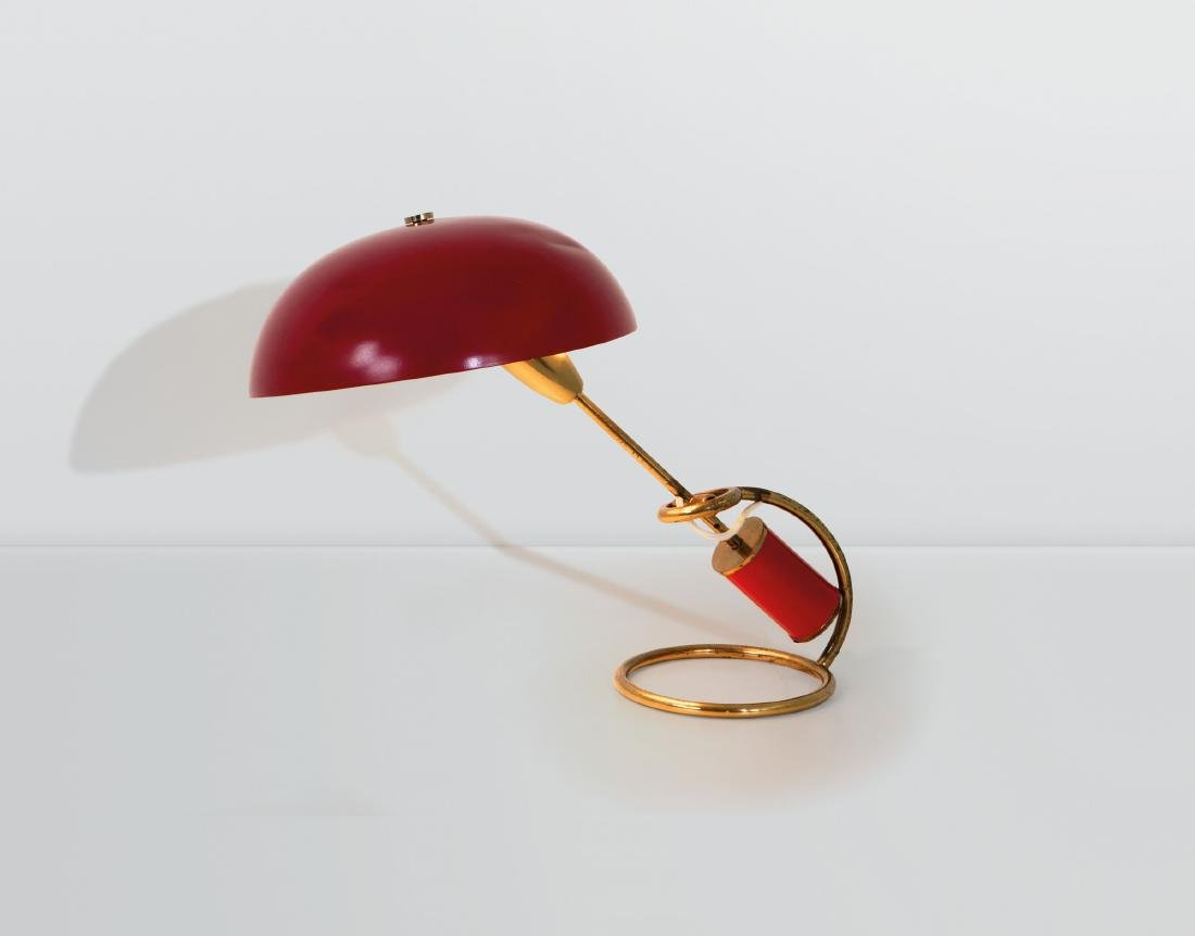 Angelo Lelii, a table lamp in brass and lacquered