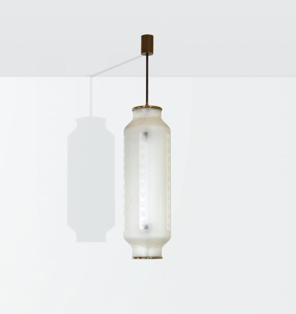 Angelo Lelii, a pendant lamp with a brass structure and