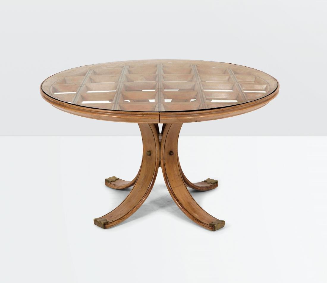 Osvaldo Borsani, a wooden table with a glass top, a