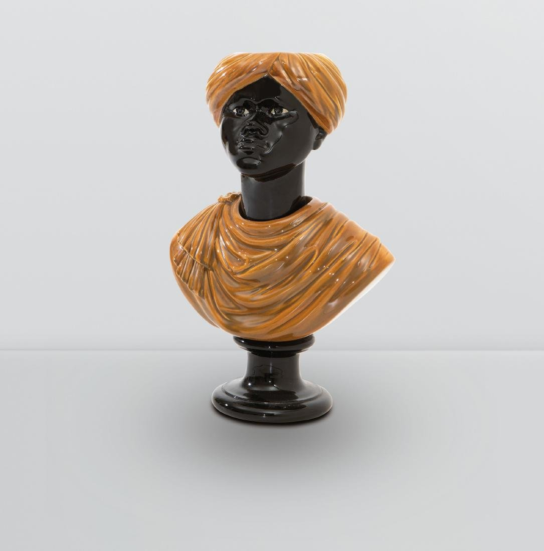 Piero Fornasetti, a bust of a Moor in enamelled
