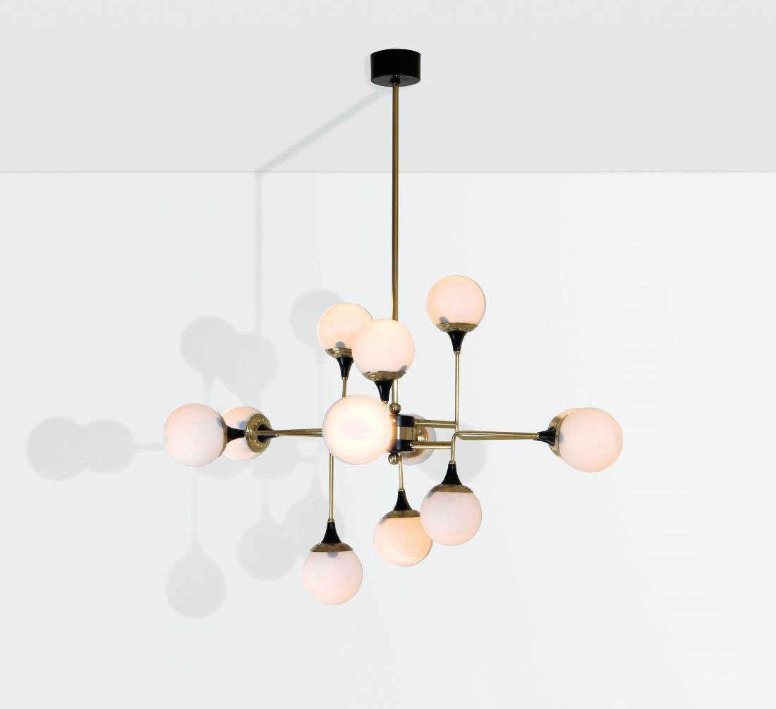 Stilnovo, a chandelier with a brass structure and