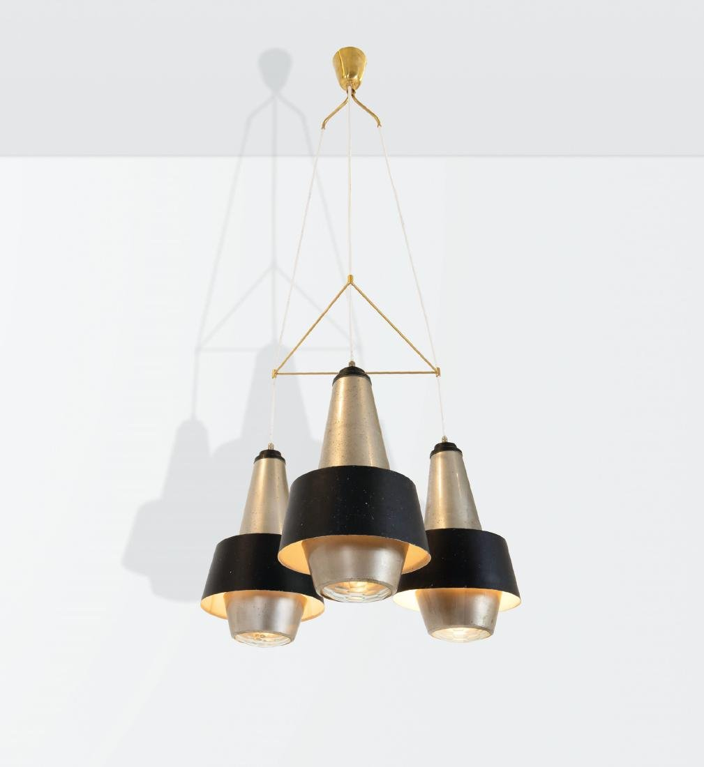Stilnovo, a chandelier with a polished aluminum,