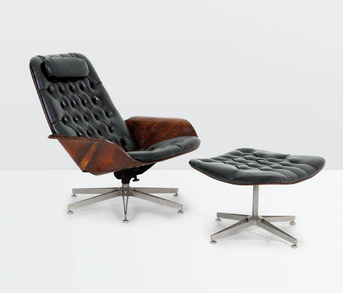 George Mulhauser, a swiveling armchair and ottoman in