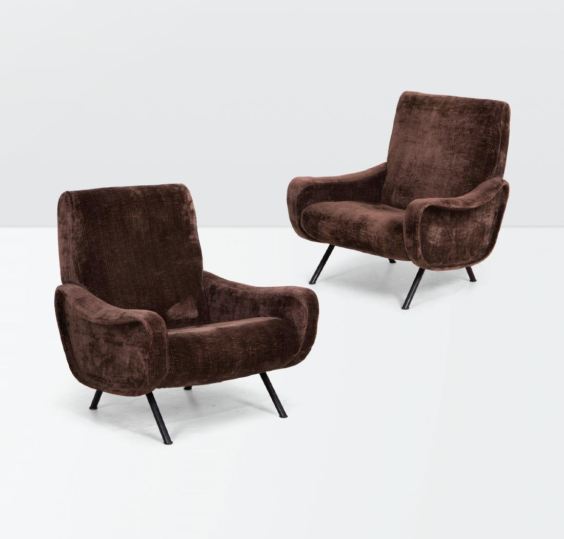 Marco Zanuso, a pair of Lady armchairs with a metal