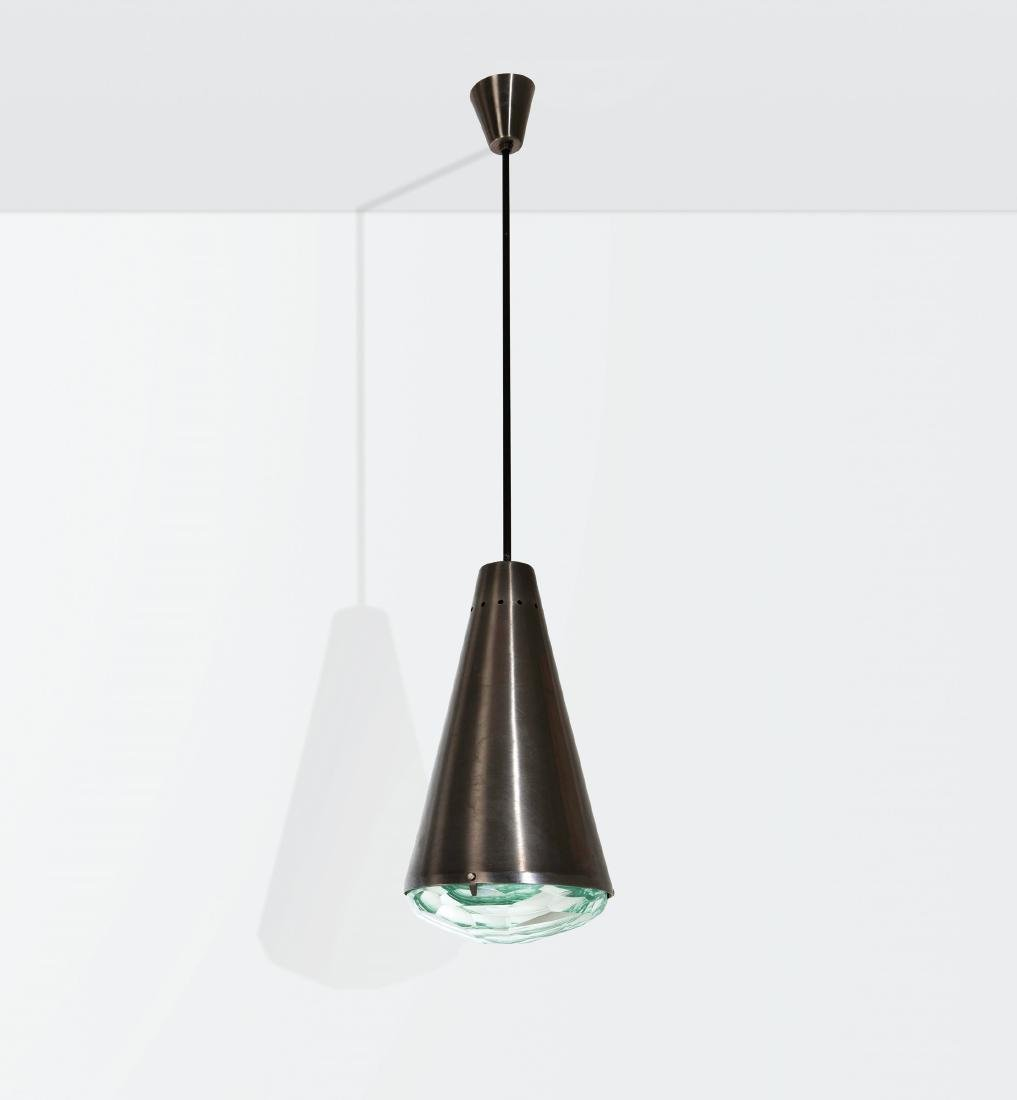 Max Ingrand, a mod. 1995 pendant lamp in nickeled brass