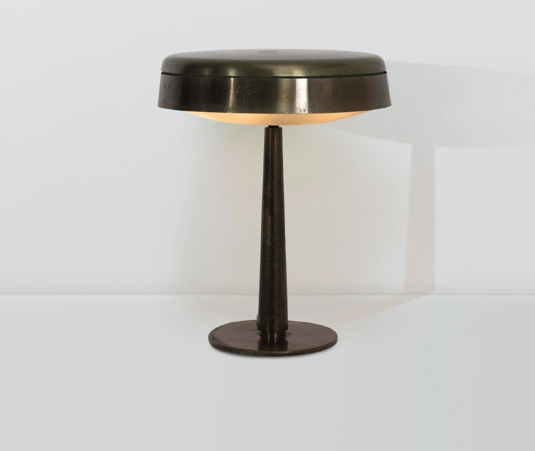 Max Ingrand, a table lamp with a lacquered metal and