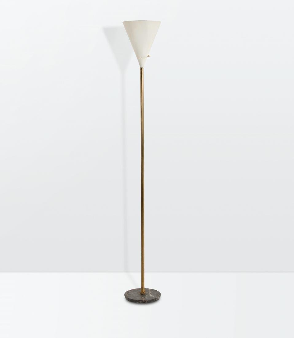 Giuseppe Ostuni, a floor lamp with a brass structure, a