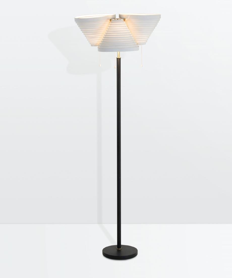 Alvar Aalto, a mod. A809 floor lamp with a lacquered