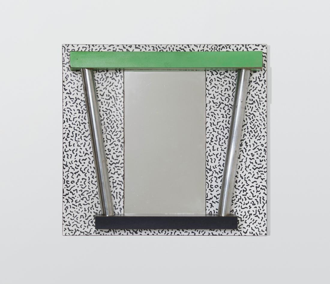 Ettore Sottsass, a mirror with a laminated wood frame.