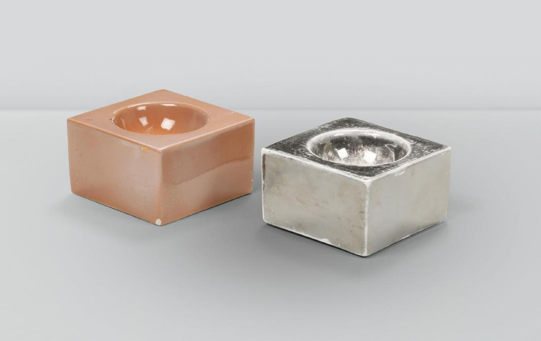 Ettore Sottsass, a pair of square ashtrays in enameled