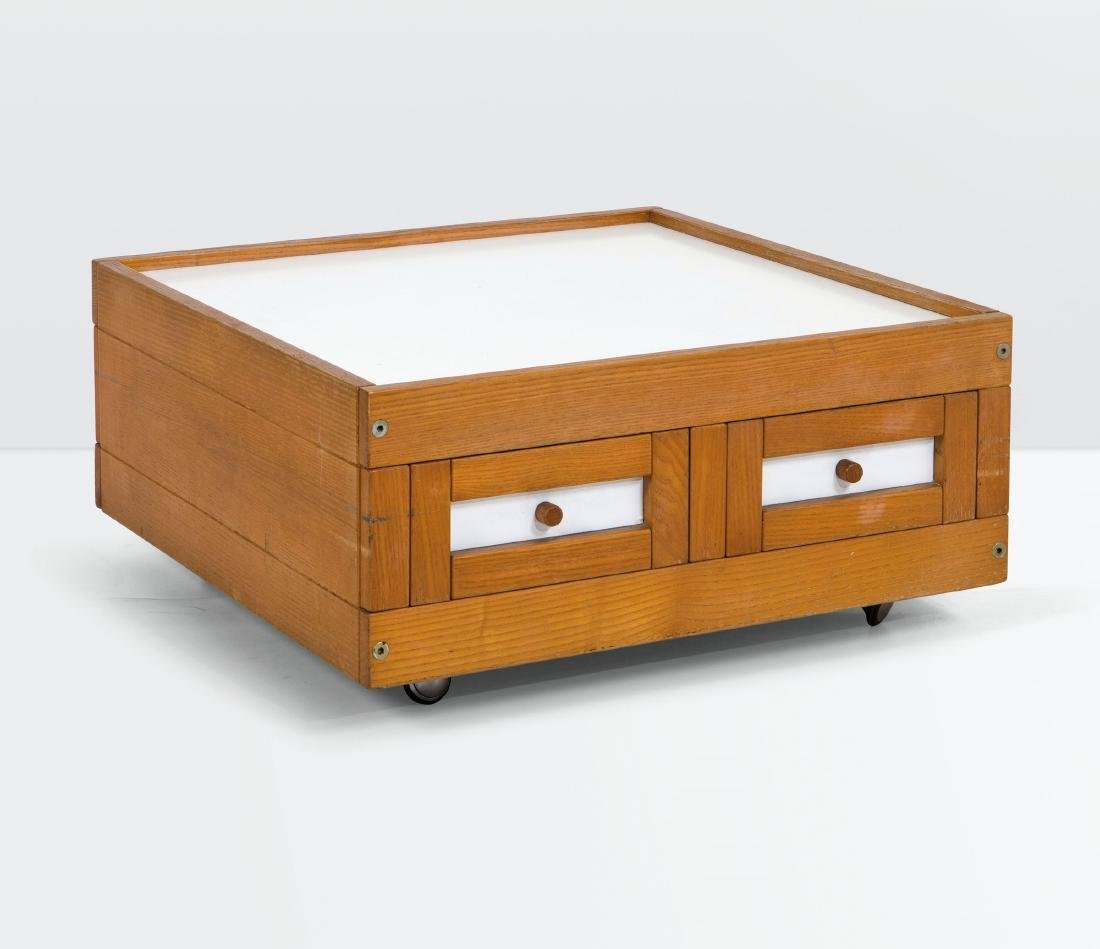 Ettore Sottsass, a low table with a wood and laminated