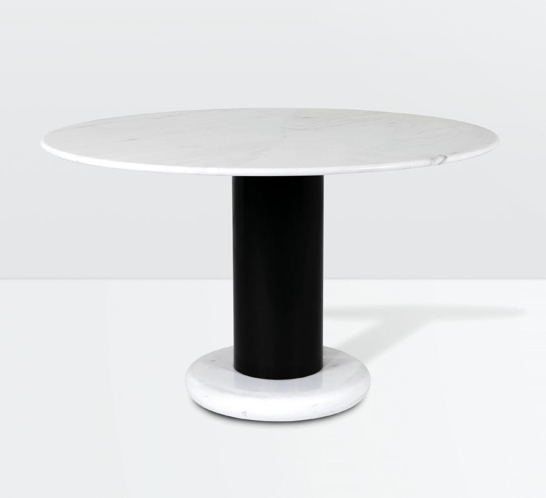 Ettore Sottsass, a Loto Rosso table with a marble base
