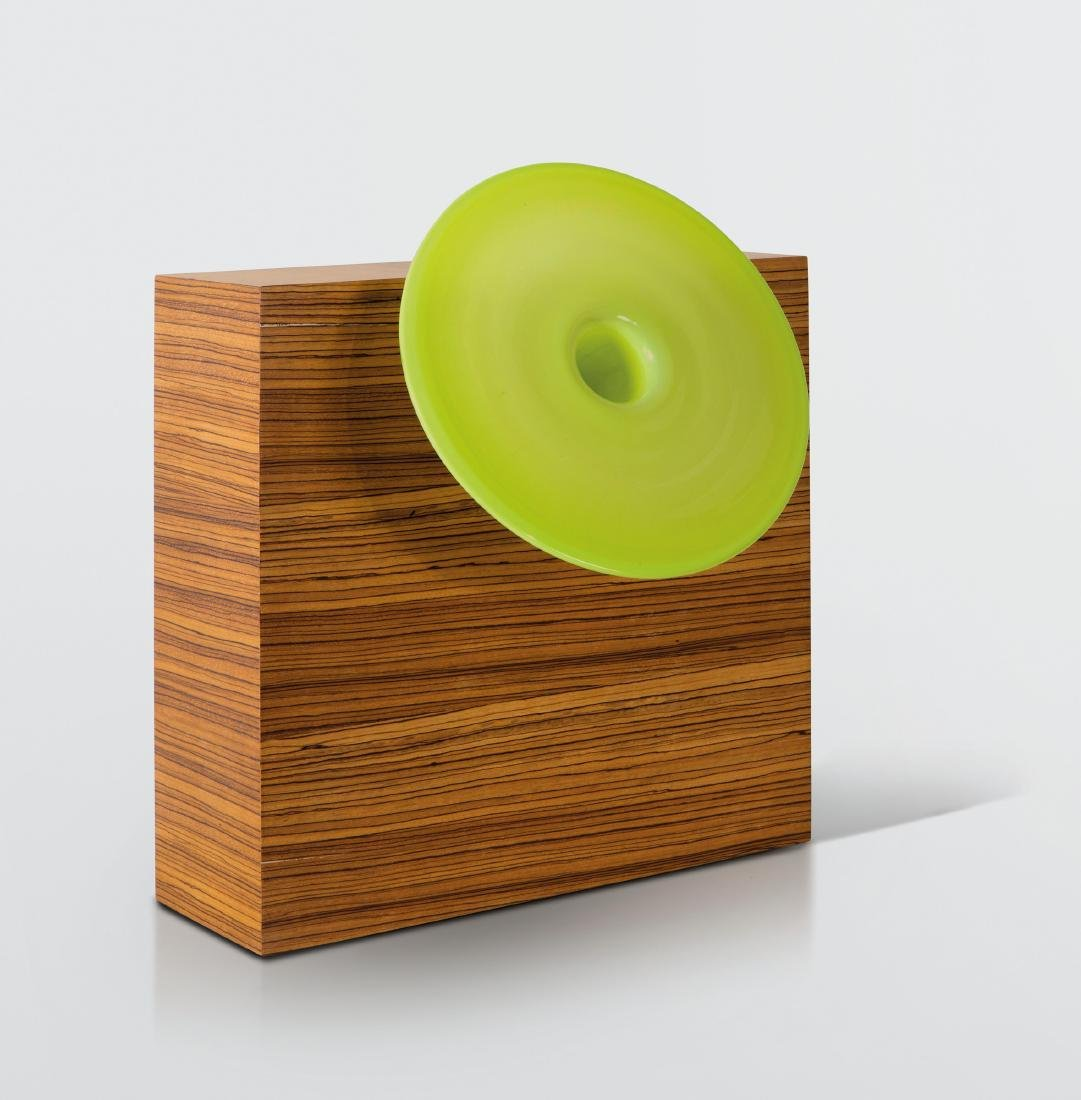 Ettore Sottsass, a vase with a wood and glass
