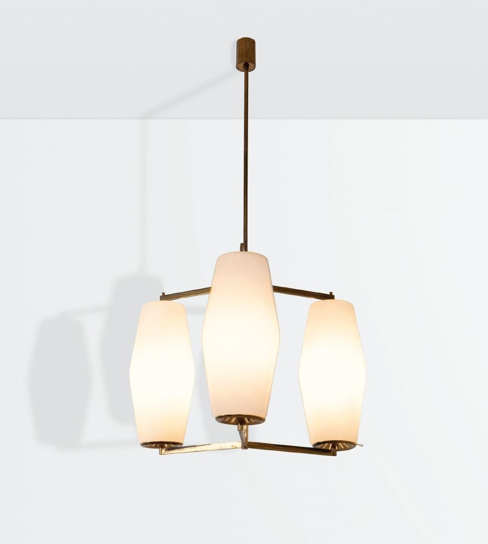 Stilnovo, a hanging lamp with a brass structure and