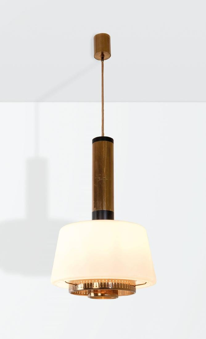 Stilnovo, a mod. 1192 pendant lamp with a brass and