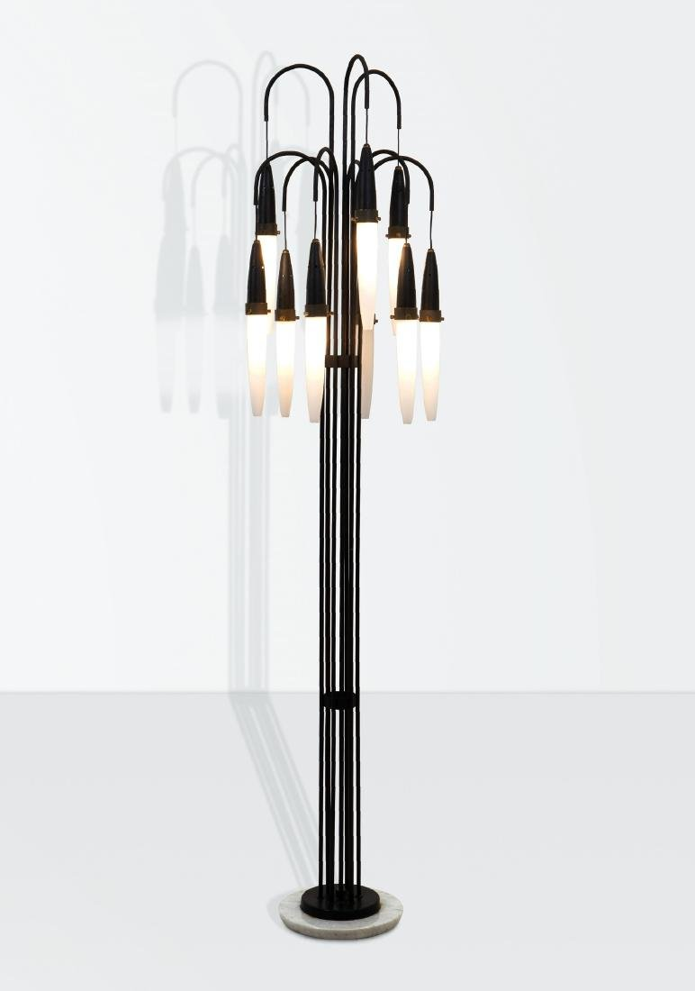 Angelo Brotto, a floor lamp with a brass and lacquered