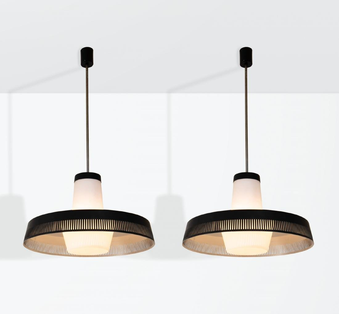 Stilnovo, a pair of pendant lamps with a lacquered