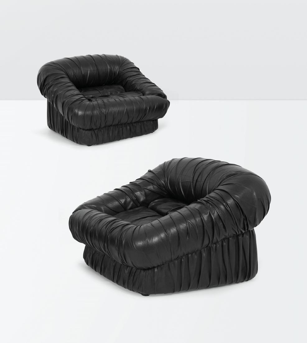 De Pas D'Urbino Lomazzi, a pair of Piumino armchairs