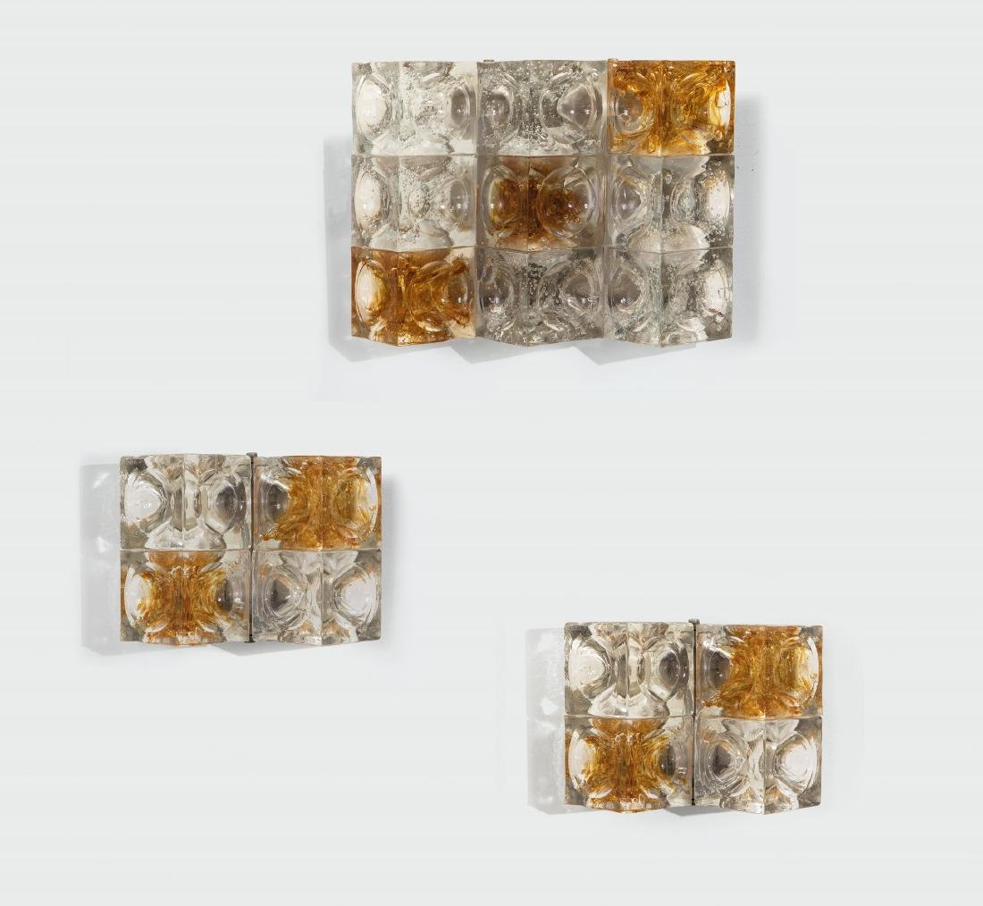 Albano Poli, three appliques with a metal structure and