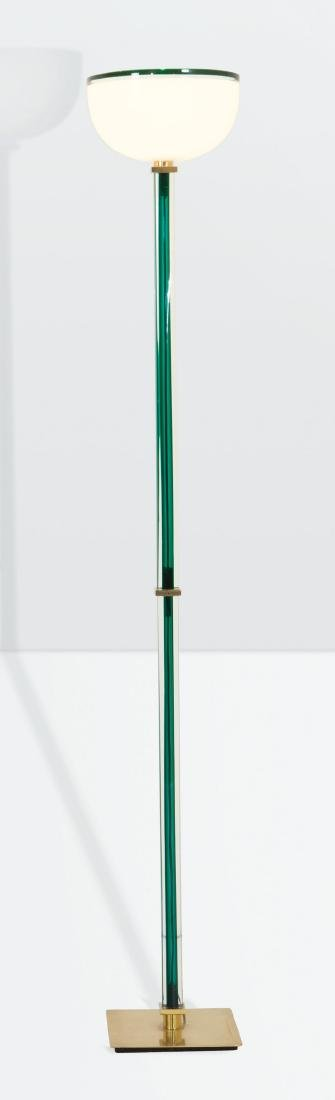 Venini, a Tolboi floor lamp in hand-blown glass. Brass