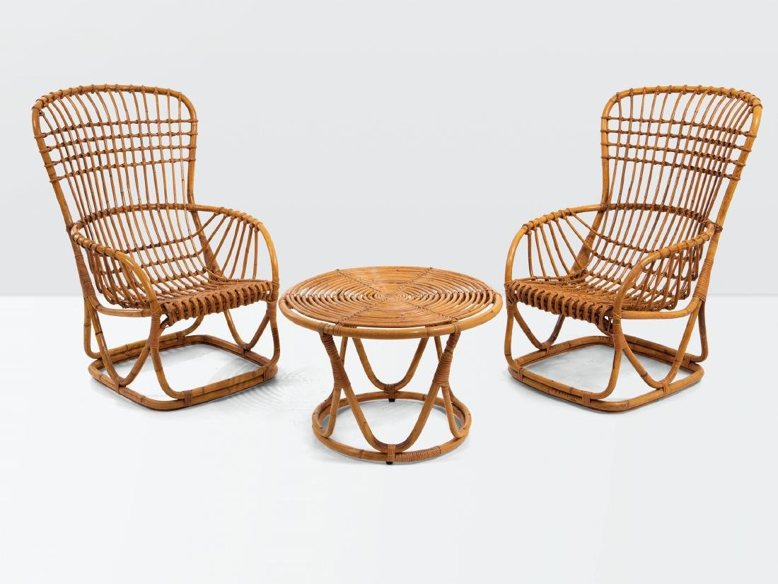 Tito Agnoli, a set of wicker furniture made up by two