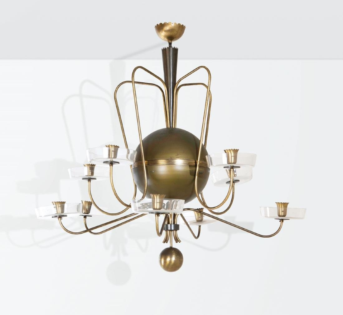 Gio Ponti ?, a rare chandelier with a brass structure