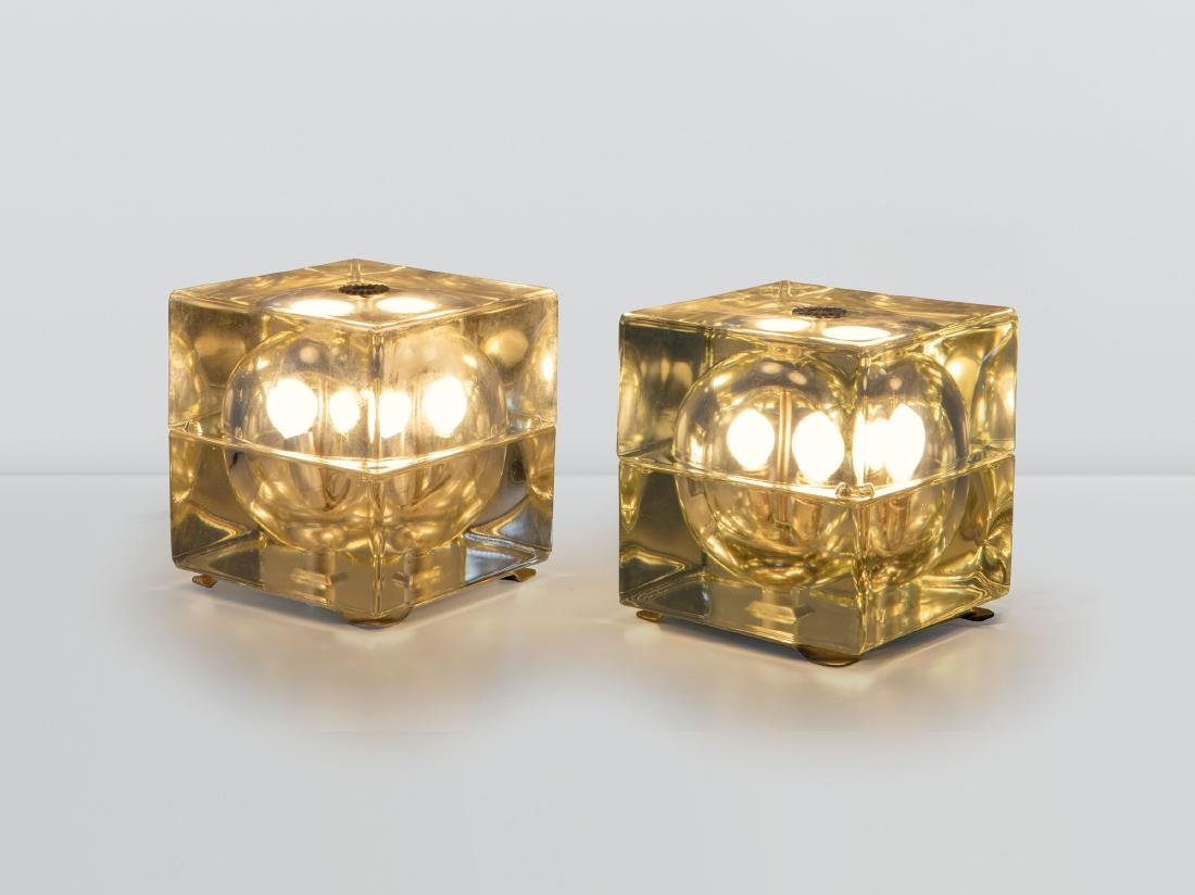 Alessandro Mendini, a pair of Cubosfera table lamps in