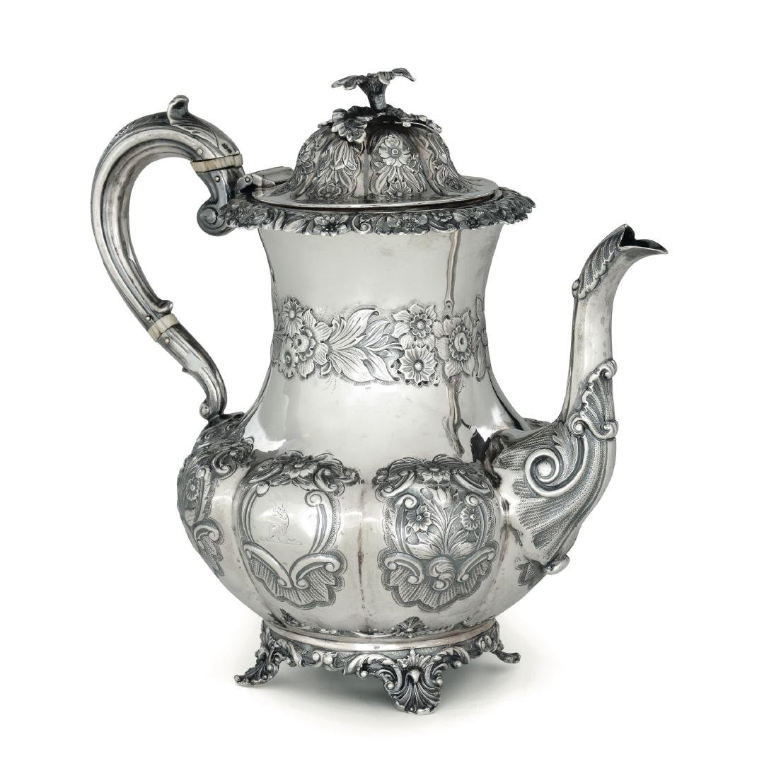 A silver coffee pot, IW, London 1835