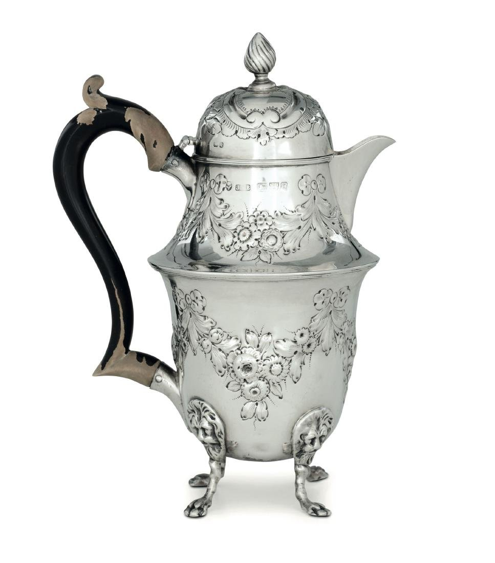 A silver coffee pot, J.M.B., Chester 1889