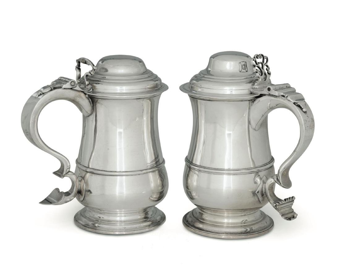Two tankards, IM, London 1759/J. Langlands, Newcastle