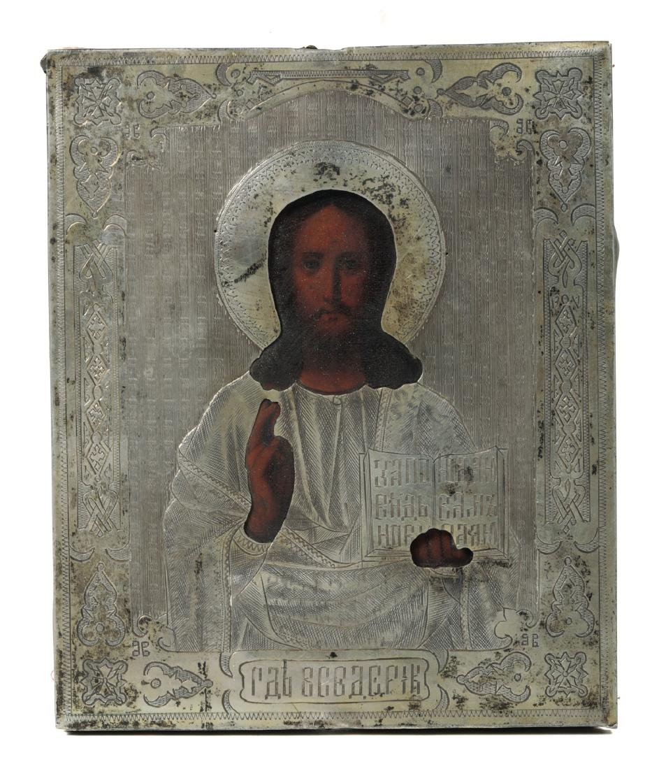 An icon with silver riza, Moscow, 1888