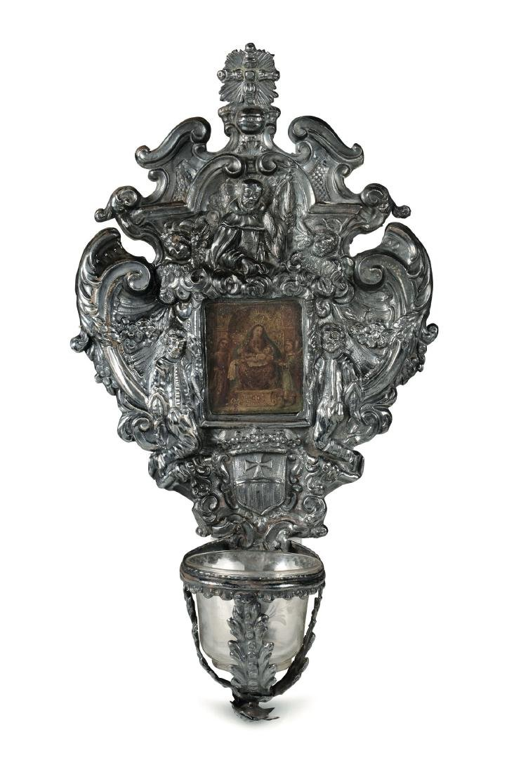 A holy water fount, Genoa or Barcelona, mid 1700s