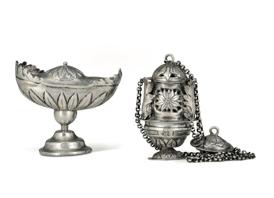 A thurible and an incense boat, Genoa, 17-1800s