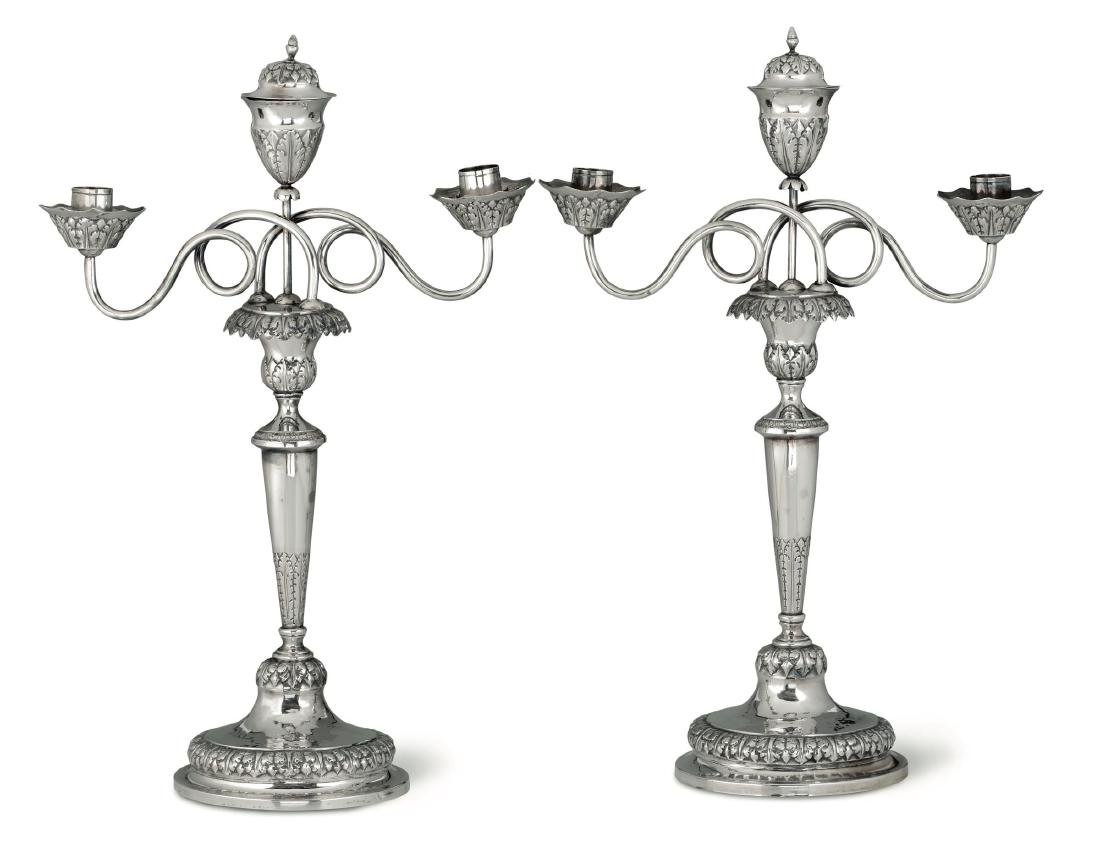 Two silver candle holders, Genoa, 19th century