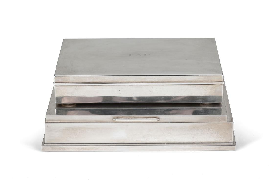 A silver cigarette box and a fiche box, 20th century - 2