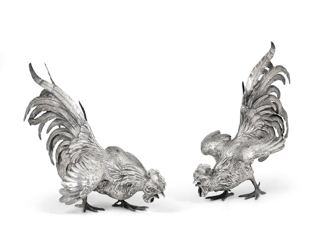 A pair of silver roosters, Germany, 20th century