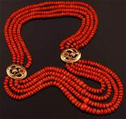 Four strands of coral beads graduating necklace