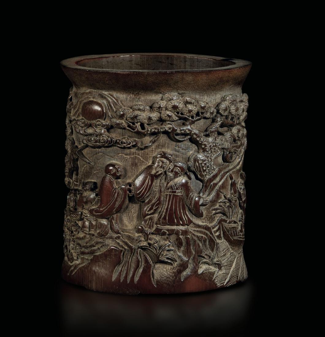 A bamboo wood brush pot, China, Qing Dynasty