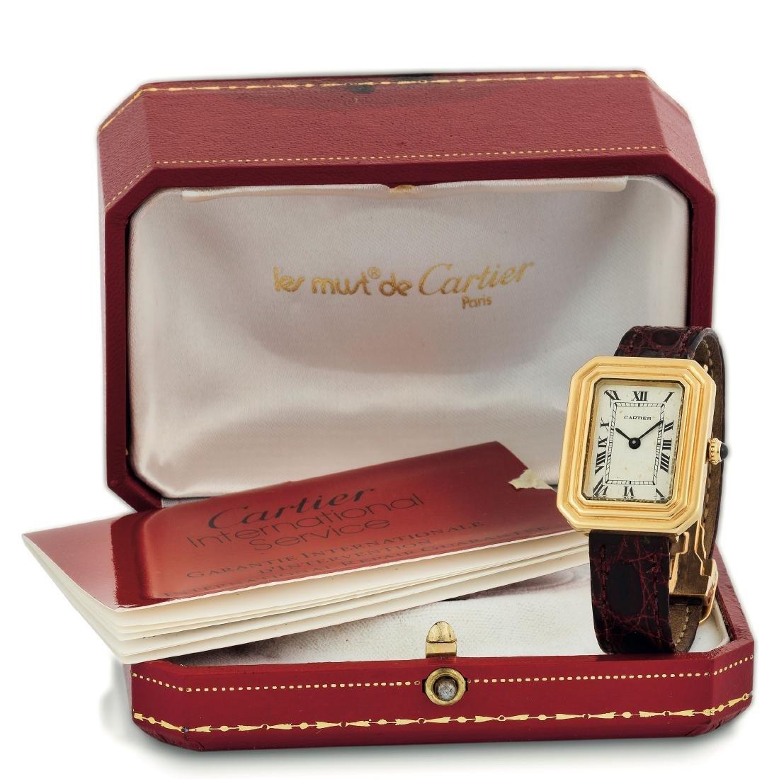 Cartier, Paris. Fine, rectangular, 18K yellow gold