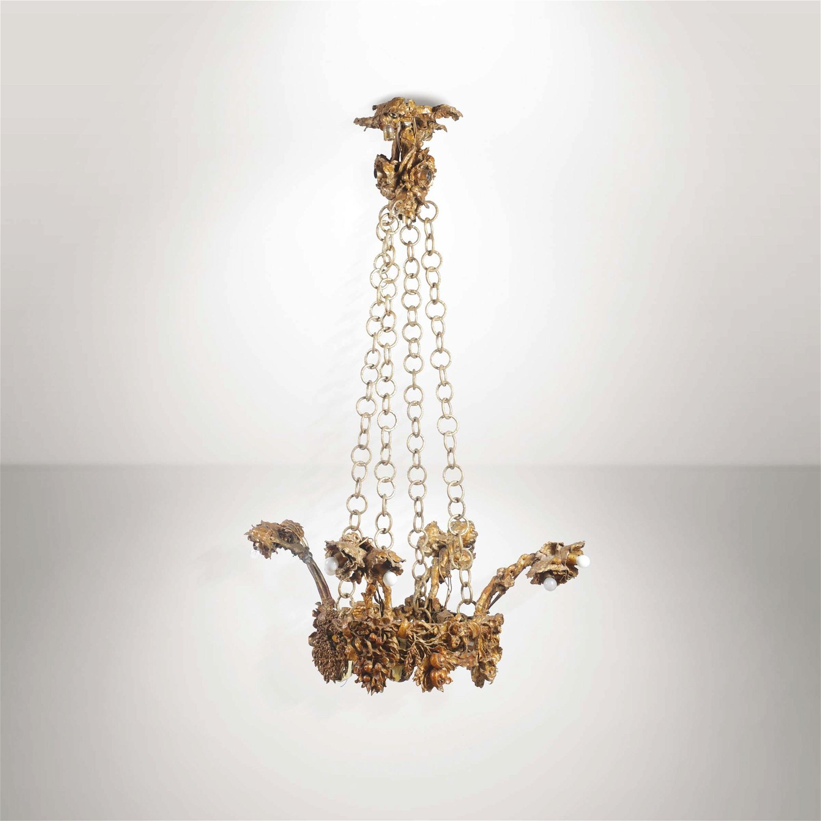 Mario Restelli, a pendant lamp with a gilt bronze
