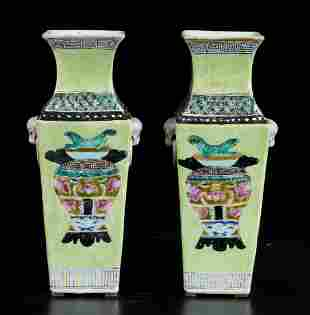 Two porcelain vases, China, Qing Dynasty