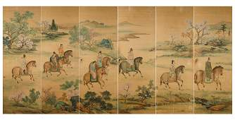 Six painted silk panels China Qing Dynasty