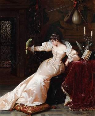 Pio Ricci (1850 - 1919), Dama con pappagallo