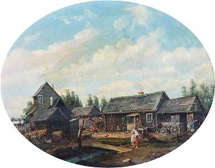 Russian school, 1850-60ca, A rural scene with izbas and