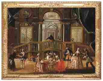Scuola veneta del XVIII secolo, Interno con banchetto